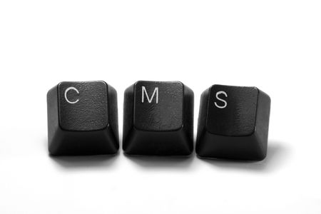 cms: cms content management system written with keyboard keys, isolated on white background Stock Photo