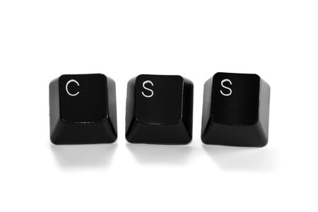 xhtml: CSS written with keyboard keys, isolated on white background Stock Photo