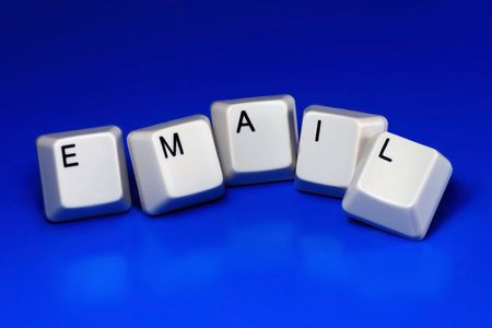 email written with keyboard keys on blue background photo