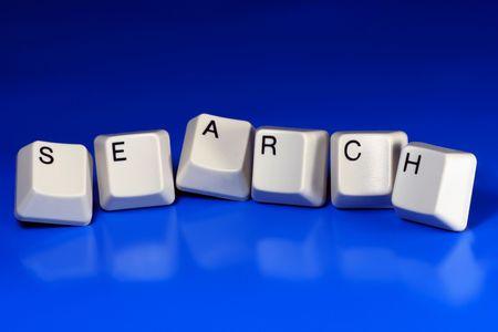 xhtml: search written with keyboard keys on blue background