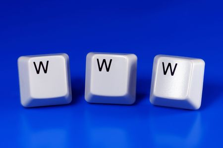 www (world wide web) written with keyboard keys on blue background Stock Photo - 2546143