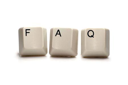 chiesto: Domande frequenti (FAQ) scritto con i tasti del computer, isolata su bianco
