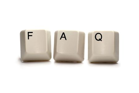 asked: Frequently asked questions (FAQ) written with computer keys, isolated on white
