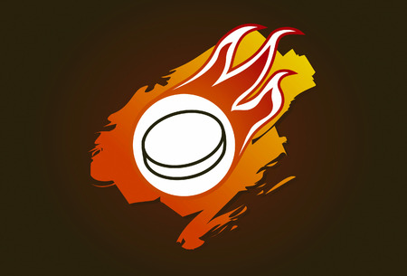 ich hockey puck with flames Vector