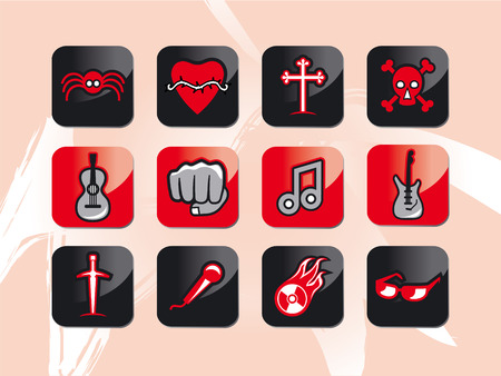 rocknroll and music icons Vector