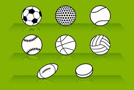 symbol sport: Sport Bälle auf grün