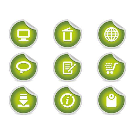 compatible: Sticky - Ic�nes & Site Internet # 2 | Green. Un ensemble de 9 ic�nes vecteur (EPS), illustrateur 8 + compatible. Illustration
