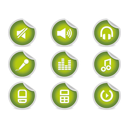 compatible: Sticky Icons - Music & Audio Software and Equipment | Green. A set of 9 vector icons (), illustrator 8+ compatible.