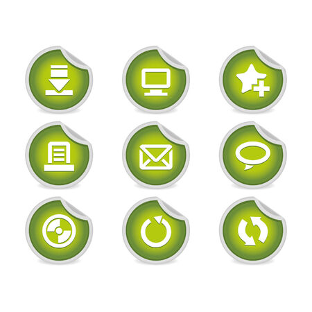 Sticky Icons - Websites & Blogs #2   Green. A set of 9 vector icons (), illustrator 8+ compatible. Vector