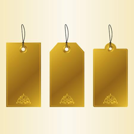 Golden Tags - set of golden luxury labels. Vector