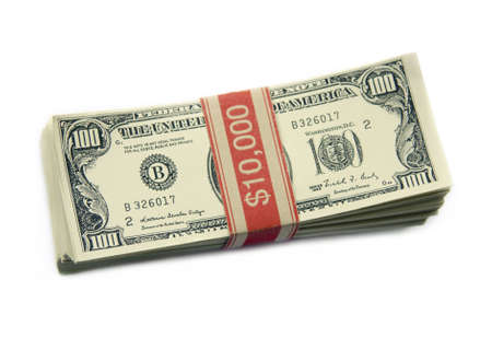 Isolated shot of a stack of one hundred dollar bills.