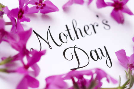 Mothers Day in elegant type surrounded by pink flowers.
