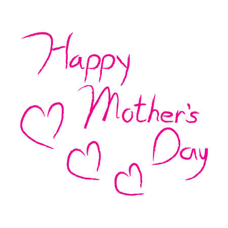 Happy Mothers Day type in pink calligraphy type with hearts.