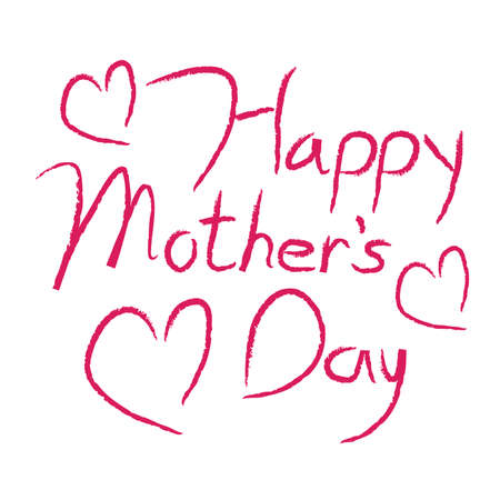 Happy Mothers Day type in red calligraphy type with hearts.