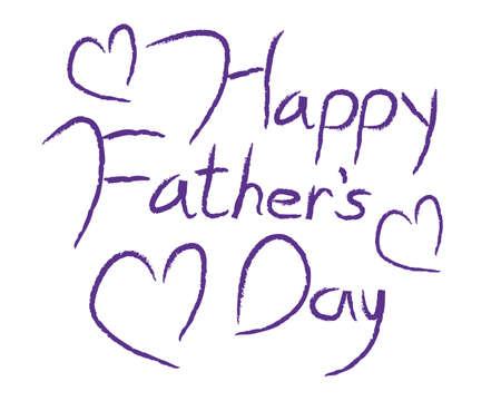 Happy Father's Day type in paars kalligrafie type met harten. Stockfoto
