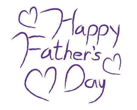 Happy Fathers Day type in purple calligraphy type with hearts.