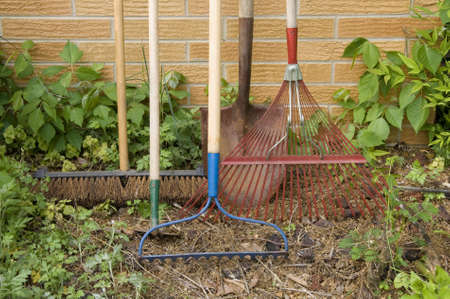 broom: A still life of various tools used in the yard and garden against a brick wall.