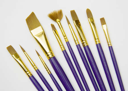 An assortment of brushes used for painting pictures. photo