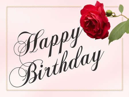 notecard: Happy Birthday Card with red rose and border.