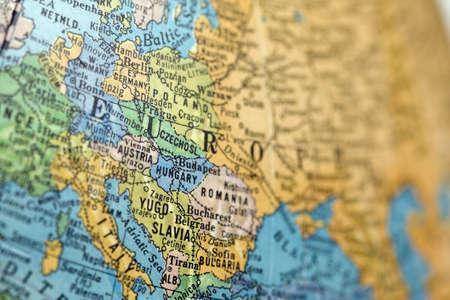 europe: Close-up of Europe map on old globe.