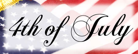 4th of July black lettering with flag background. Stock Photo