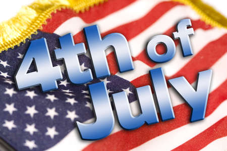 fourth of july: 4th of July type on an american flag background. Stock Photo