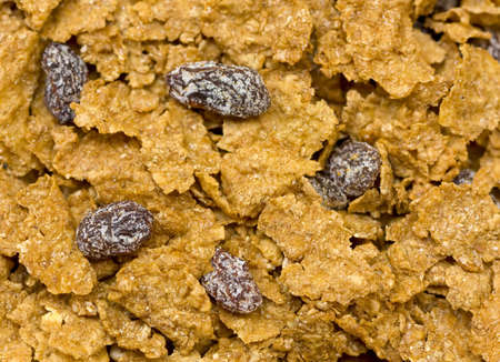 Close-up of bran cereal with raisins. Stock Photo - 3211482