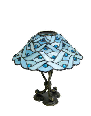Stained glass lamp isolated on white  photo