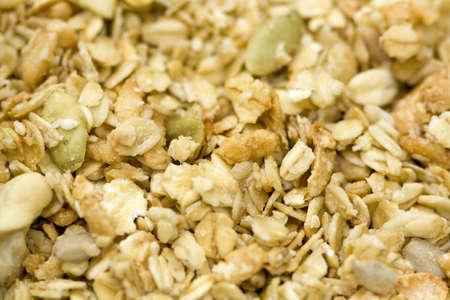 avena en hojuelas: Close-up of org�nica de cereales de granola con copos de avena.