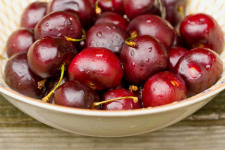 bing: Close-up of a bowl of bing cherries. Stock Photo