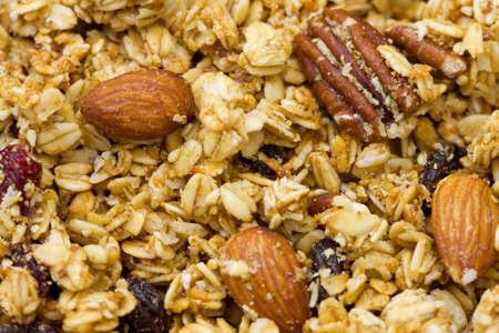 Close-up of natural granola with fruits and nuts. Stok Fotoğraf