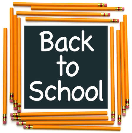 Back to School type with a pencil frame. photo