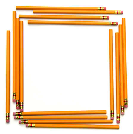 school border: Square frame made of unsharpened number two pencils. Stock Photo