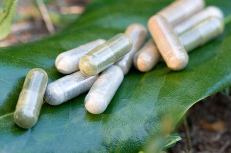 Kruidengeneesmiddel capsules in een natuur milieu.
