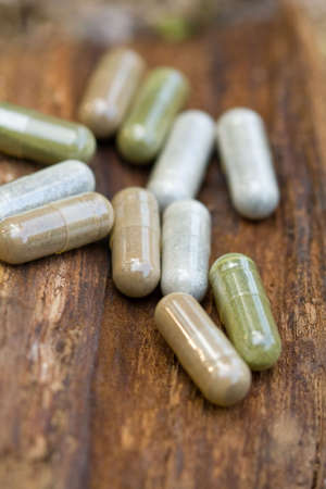 Close-up of various herbal medications in a natural setting. Stock Photo