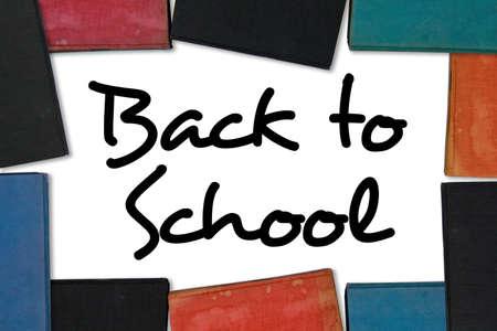 Terug naar School type (openbaar domein) met oude boek grens. Stockfoto