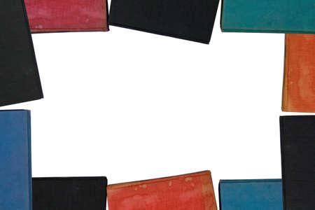 creates: A group of old books creates a frame or border.