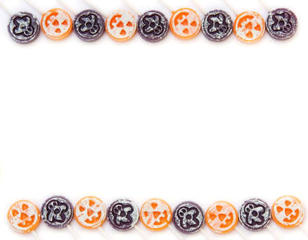 candy border: Halloween pumpkin and ghost candy border.