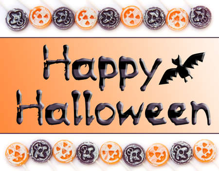 candy border: Happy Halloween type with candy border.