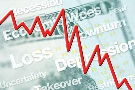 Economische neergang grafische lijn met grafiek en tekst.