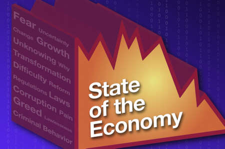 unsure: A 3d chart represents the state of the economy with text. Stock Photo