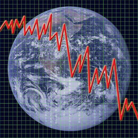 Graph representing the state of world and global economy.