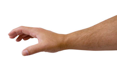 Human arm reaching isolated on white with clipping path. Stock Photo