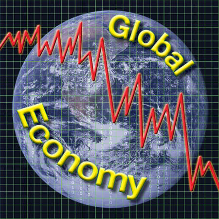 house exchange: Global Economy type graphic with chart and globe. Stock Photo