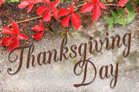 Thanksgiving Day type with autumn background Stock Photo