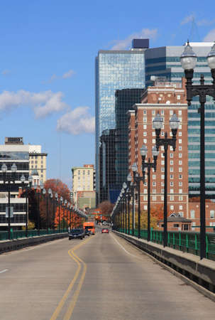 vanish: View of downtown Knoxville, Tennessee from the Gay Street bridge.