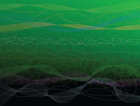 turbulent: Green water abstract background with waves and lines.