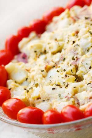 Selective focus on some homemade potato salad. photo