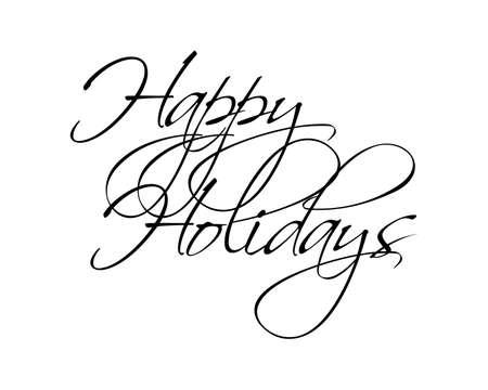 Happy Holidays script vector type voor seizoensgebonden ontwerpen.