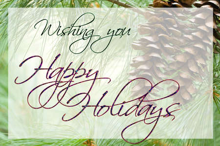 Happy Holidays card with pine cone background